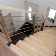 Stahltreppe mit Edelstahlvierkant Geländer